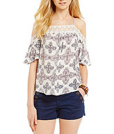 Jolt Printed Cold Shoulder Crochet Trim Top