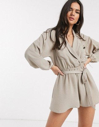 Asos DESIGN pocket detail wrap shirt playsuit