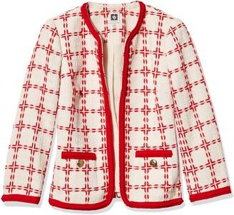 Anne Klein Women's Windowpane Check Collarless Jacket with Braided Trim