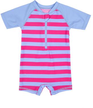 Leveret Girls' Rashguards Purple/Denim - Purple & Denim Stripe Zip-Front Raglan One-Piece Rashguard - Infant
