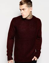 Religion Textured Crew Neck Knitted Jumper - Red