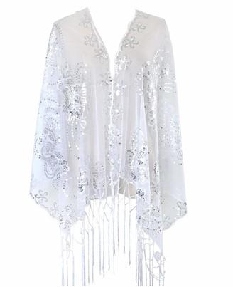KELAND Women's Glittering 1920s Scarf Mesh Sequin Wedding Cape Fringed Evening Shawl Wrap (Purple)(Size: One Size)