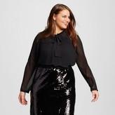 Women's Plus Size Micro Pleat Bow Blouse - Who What Wear