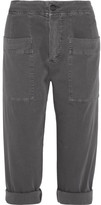 James Perse Cropped Stretch Cotton-blend Twill Tapered Pants - Dark gray
