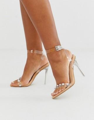 Public Desire Tonight crystal detail clear stiletto heeled sandal