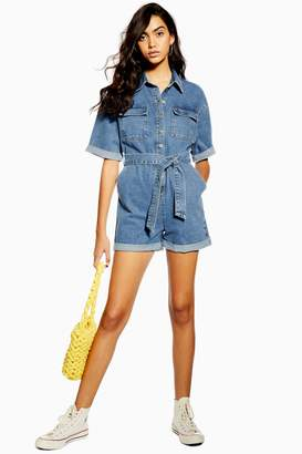 Topshop Womens Blue Denim Button Playsuit - Mid Stone