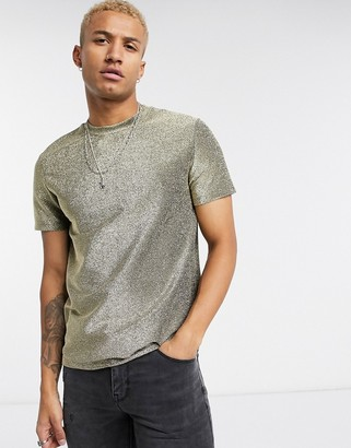 ASOS DESIGN festival muscle t-shirt in sparkly fabric in gold