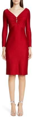 St. John Evening Shimmer Float Knit Long Sleeve Dress