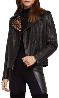 BCBGMAXAZRIA Leopard-Print Calf Hair & Leather Moto Jacket