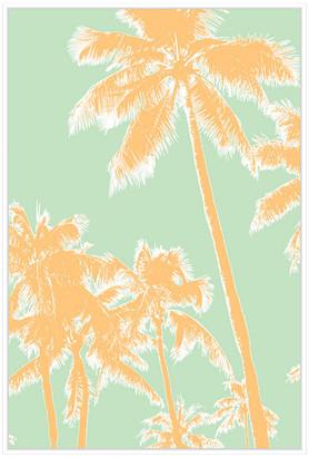 Jonathan Bass Studio Retro Palms 1, Decorative Framed Hand Embellished