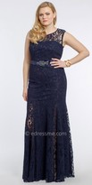 Camille La Vie Illusion Neck Allover Lace Plus Size Prom Dress