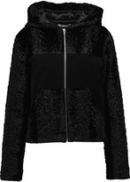 Alexander Wang Paneled faux fur and suede hooded jacket