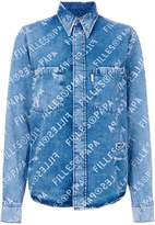 Filles a papa logo print denim shirt