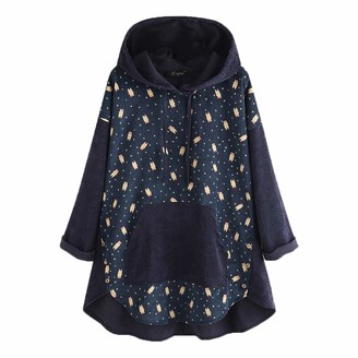 Lazzboy Women Blouse Hoody Long Sleeve Casual Cartoon Bear Stars Dots Print Patchwork Solid Pocket Newchic Plus Size Pullover Tops (5XL(26)