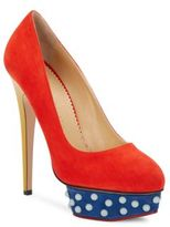 Charlotte Olympia Dolly Studded Colorblock Platform Pumps
