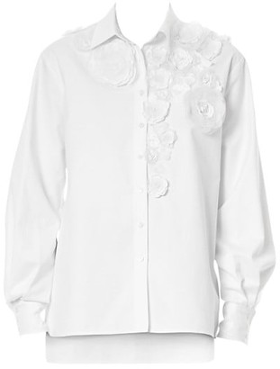 Carolina Herrera Floral Applique Evening Shirt