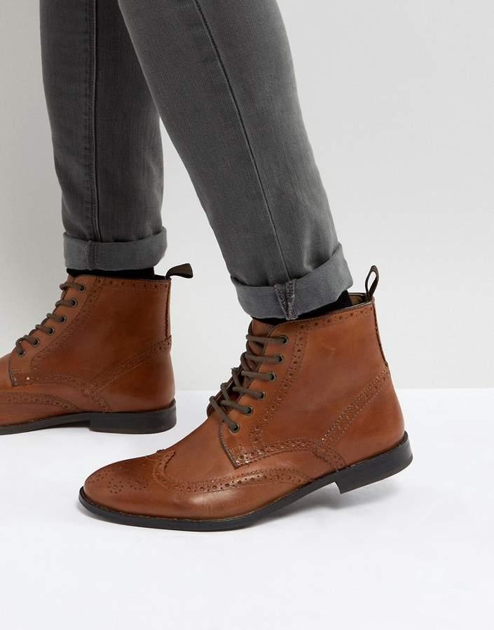 Asos Design Brogue Boots in Tan Leather