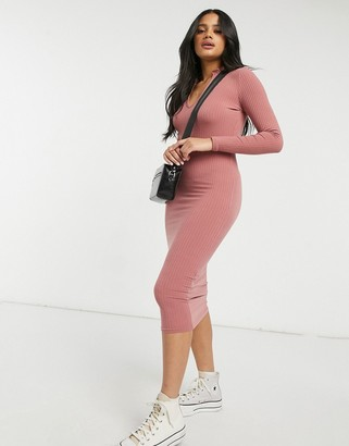 New Look frill neck ribbed midi dress in pink