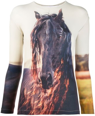 pushBUTTON Long Sleeve Horse Print Top
