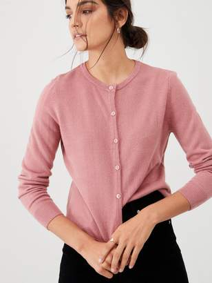 Very Supersoft Crew Neck Cardigan - Rose Pink