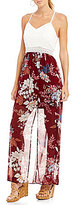 I.N. San Francisco Lace Bodice Floral Print Maxi Dress