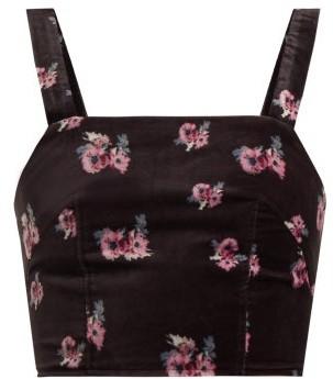 Racil Hedy Floral-print Velvet Cropped Top - Womens - Black Multi