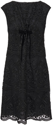 Anna Sui Bow-embellished Macrame Lace Mini Dress