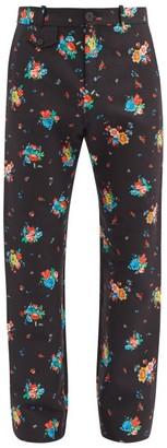 Paco Rabanne Floral-print Cotton-blend Straight-leg Trousers - Black Multi