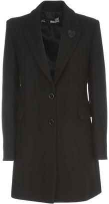 Love Moschino Single Breasted Coat W/slits On Back