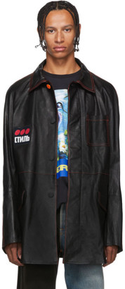 Heron Preston Black Leather Style Dots Jacket
