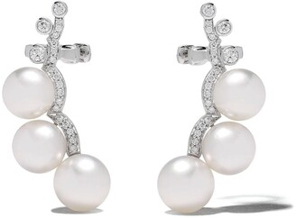 Yoko London 18kt white gold Novus South Sea pearl and diamond ear climbers