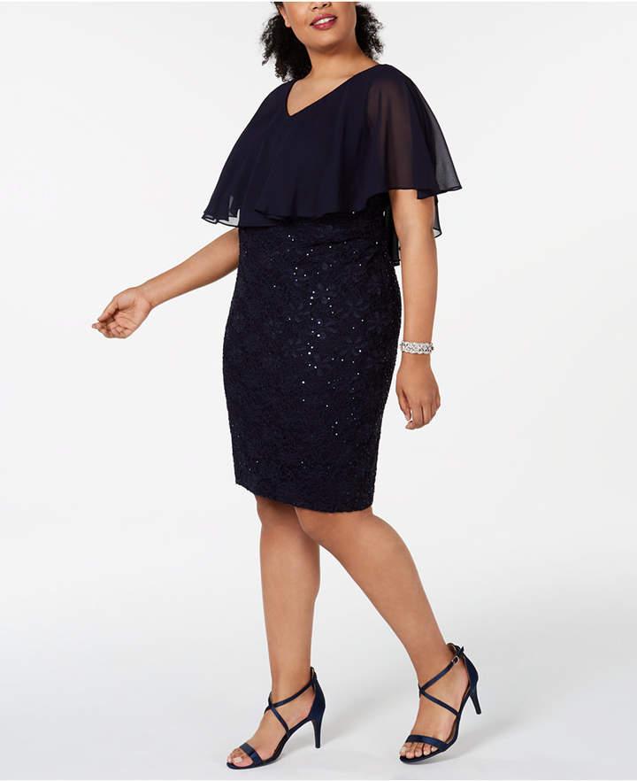 008b2128fa9 Plus Size Navy Lace Dress - ShopStyle