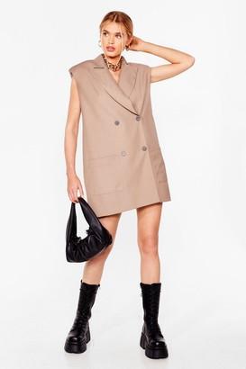 Nasty Gal Womens Take It or Sleeve It Sleeveless Blazer Dress - Beige