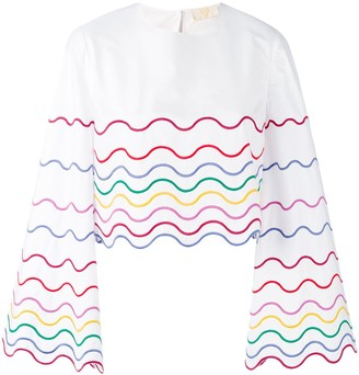 Sara Battaglia Wave Patterned Blouse