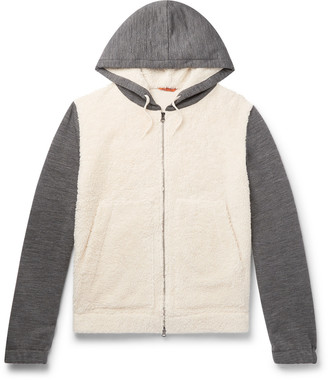 Barena Cotton-Blend Fleece And Melange Wool-Blend Zip-Up Hoodie