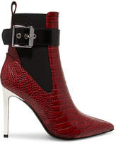 Rag & Bone Wren Buckled Croc-effect Leather Ankle Boots - Red