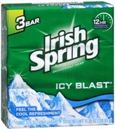 (PACK OF 25 BARS) Irish Spring ICY BLAST SCENT Bar Soap for Men & Women. 12-HOUR ODOR / DEODORANT PROTECTION! For Healthy Feeling Skin. Great for Hands, Face & Body! (25 Bars, 3.75oz Each Bar)