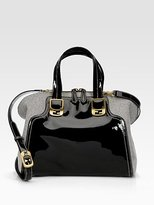 Chameleon Patent Leather & Canvas Duffle Bag