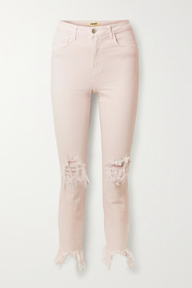 L'Agence High Line Cropped Distressed High-rise Skinny Jeans - Pastel pink