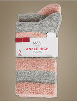 M&S Collection 2 Pair Pack Ankle High Socks