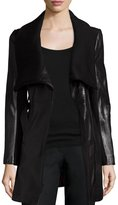 T Tahari Leather & Knit Belted Wrap Coat
