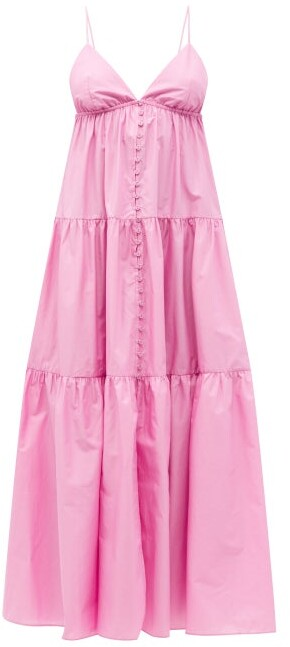 Matteau The Triangle Tiered Organic-cotton Dress - Pink