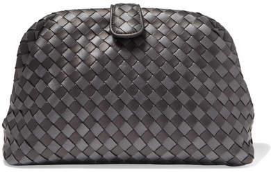 Bottega Veneta Lauren 1980 Metallic Intrecciato Leather Clutch - Gunmetal