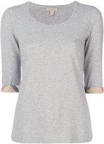Burberry checked detail T-shirt - women - Cotton/Spandex/Elastane - XS