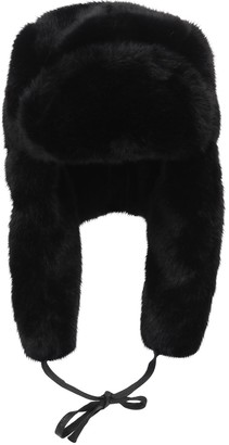 Kangol Black Faux Fur Trapper Hat