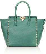 Pop Green Rockstud Double Handle Bag