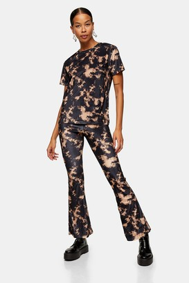 Topshop Womens Black Velvet Tie Dye Flare Trousers - Black