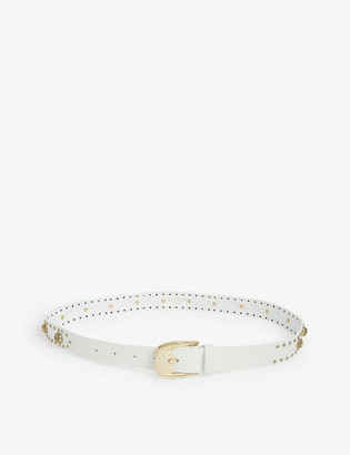 Sandro Rhinestone studded leather belt