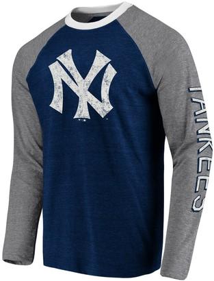 New York Yankees Men's Fanatics Branded Navy/Gray True Classics Long Sleeve Raglan T-Shirt