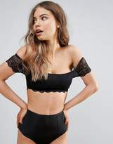 Wolfwhistle Wolf & Whistle B-G Black Lace Bardot Bralette